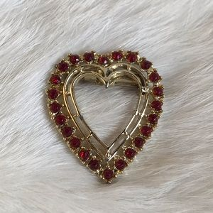 Vintage Heart Pin Brooch Red Crystal Goldtone